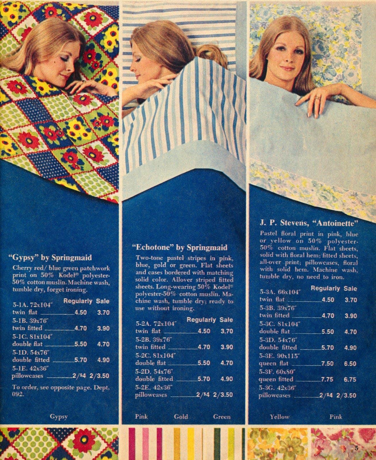 Retro designer sheets - vintage Macys catalog 1970