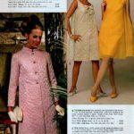 Sophisticated coat and skimmer dress ensemble in resplendent tone-on-tone geometric pattern.