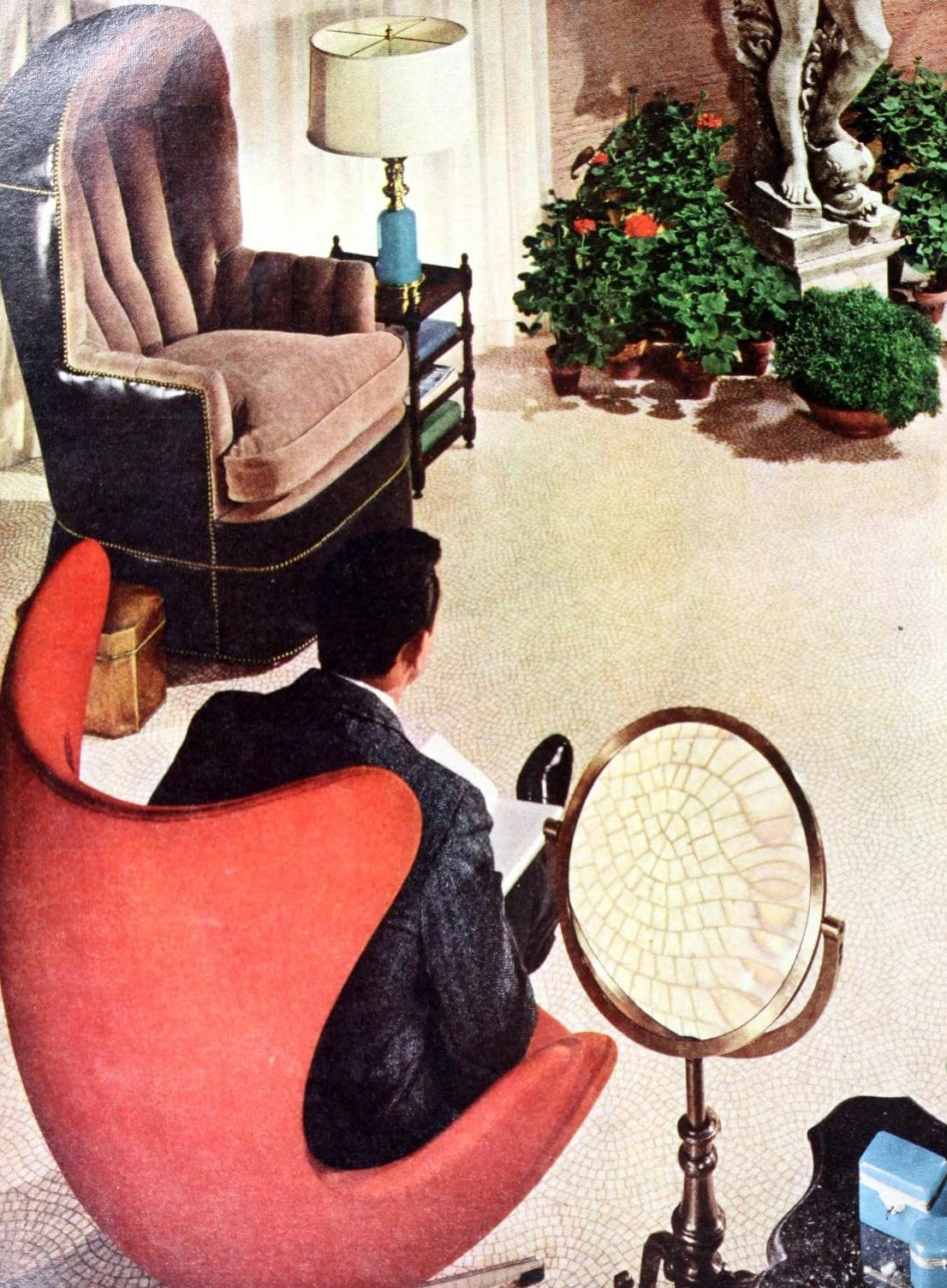 Retro egg-shaped chair styles from the sixties (1965)