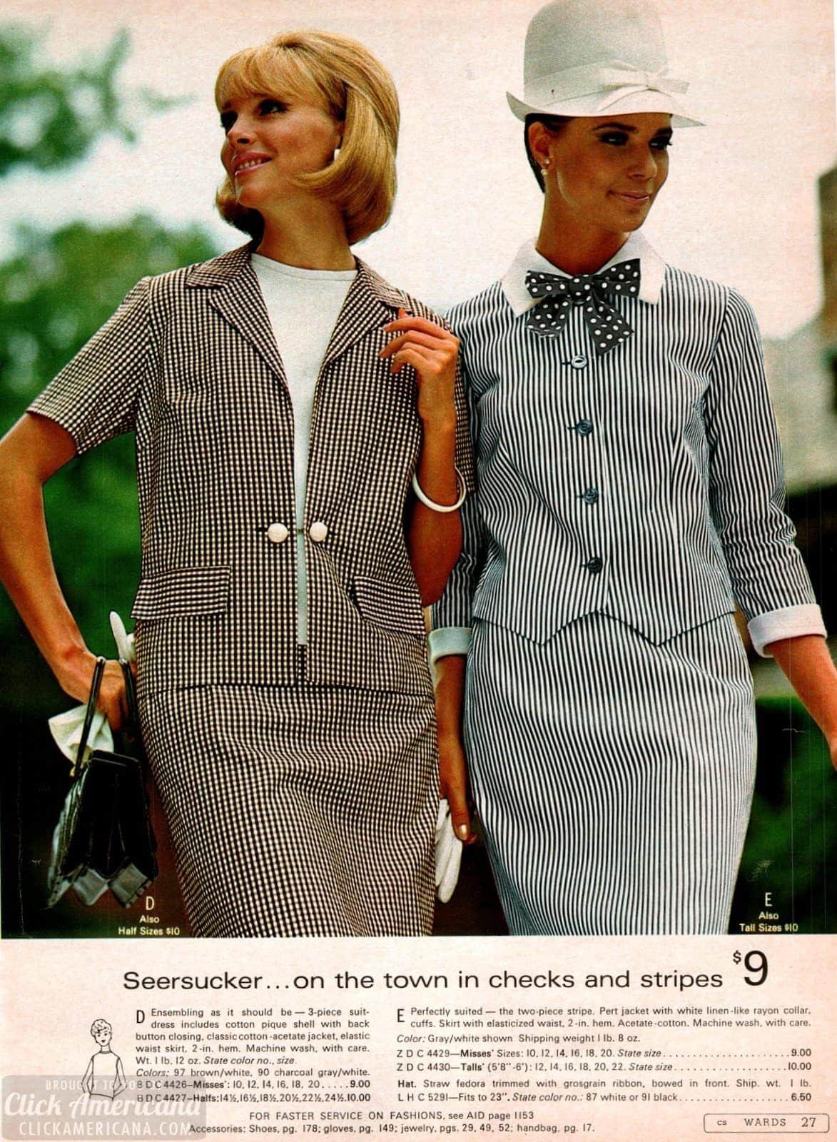 Seersucker dresses with jackets from the sixties, in checks and stripes
