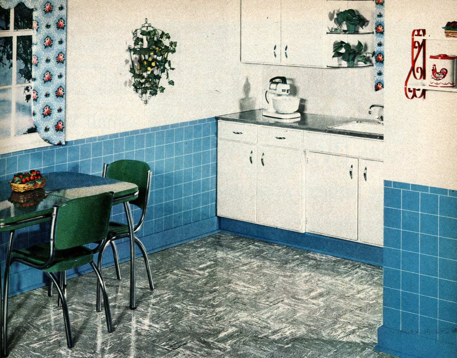 Retro fifties flooring - Kitchen in blue in gray from 1950