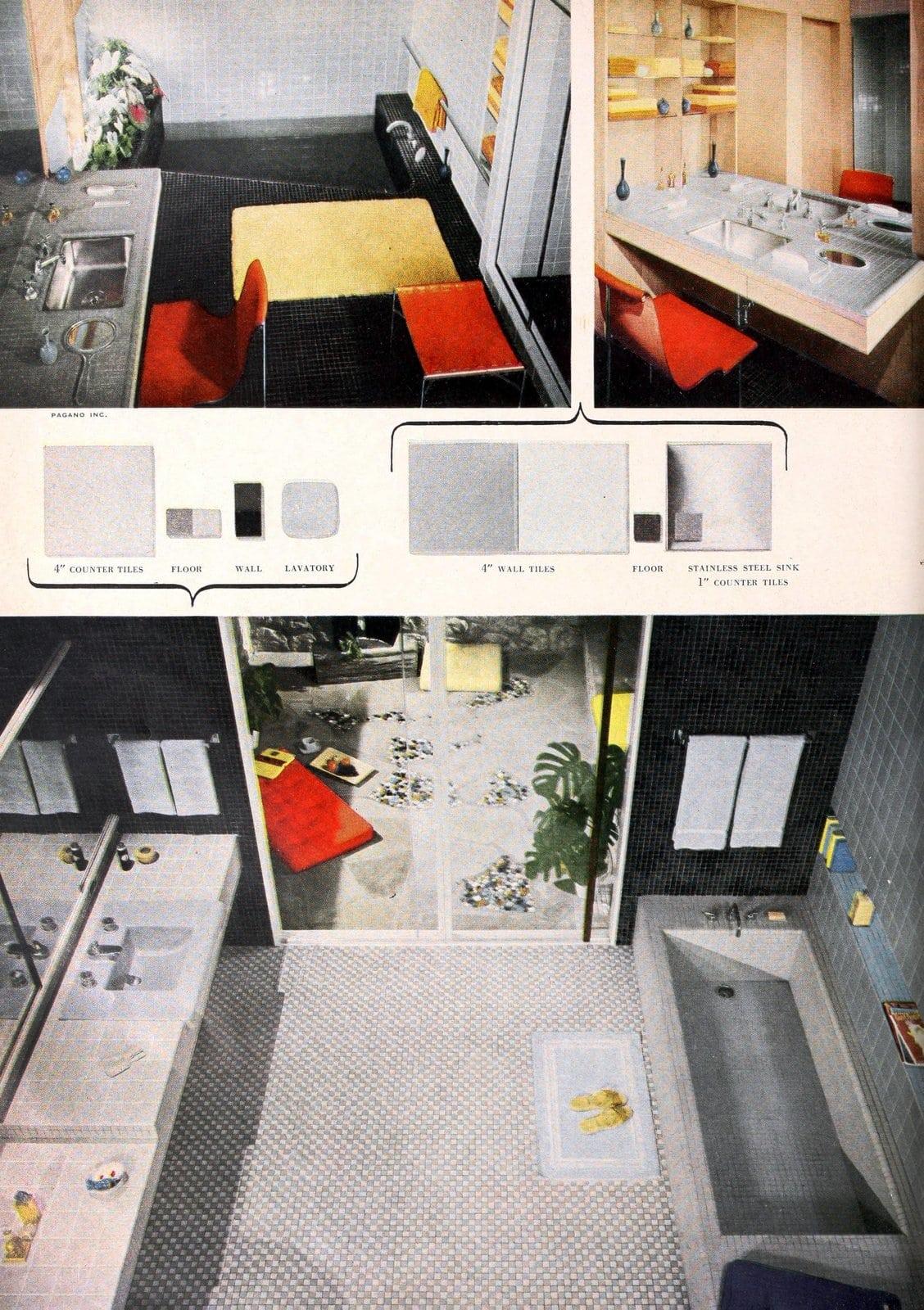Retro fifties grey bathroom tile designs (1955)