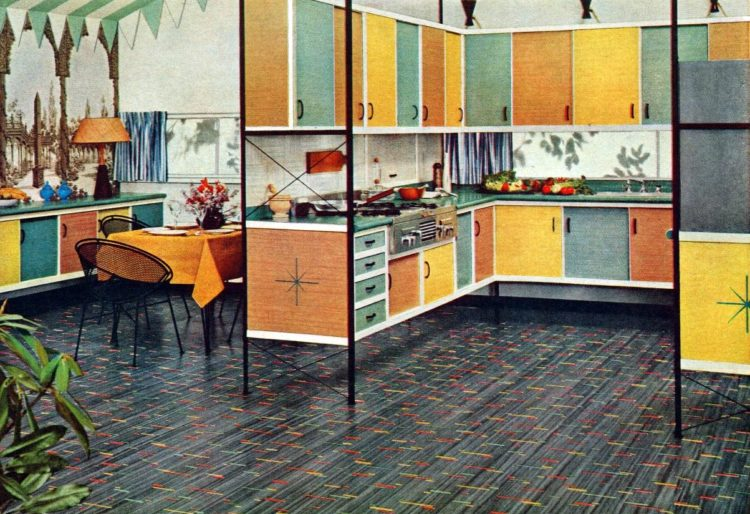 Retro floating kitchen cabinets from 1954