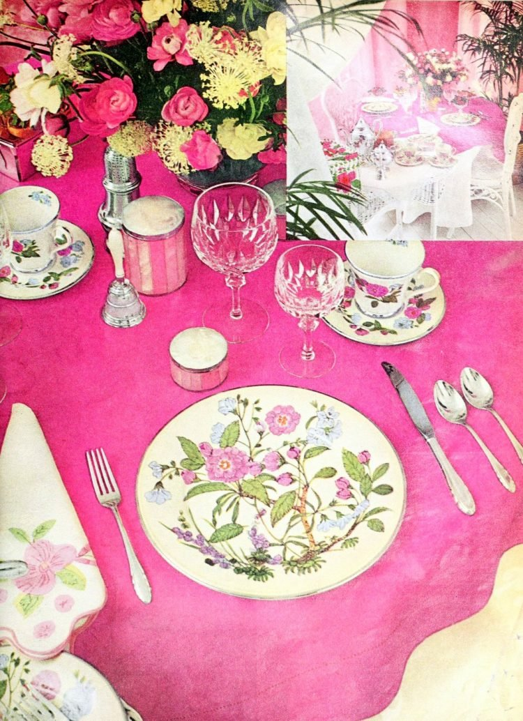 Retro floral and pink table setting from 1977