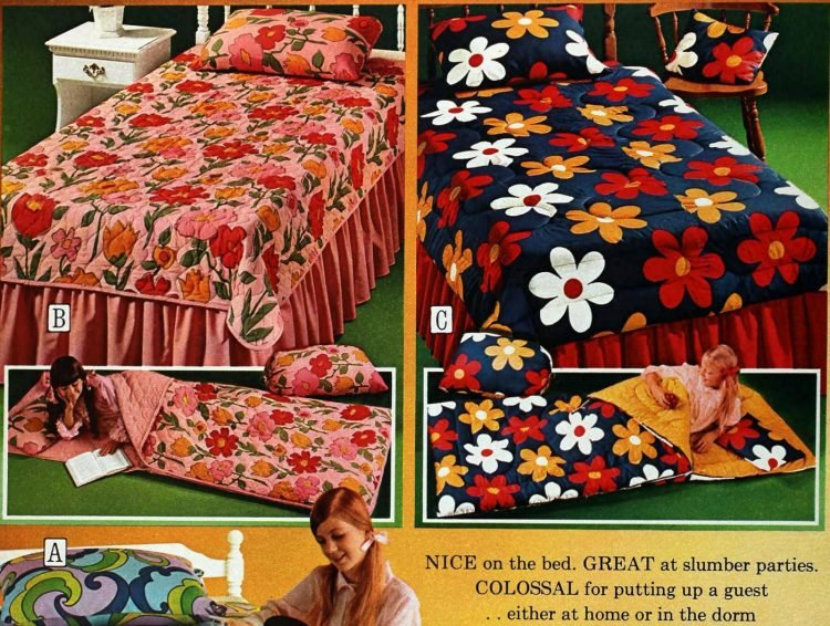 Retro flower power bedding from the 70s (2)