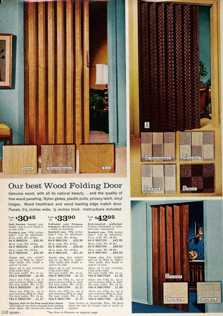 Retro folding doors in wood tones from the 1960s