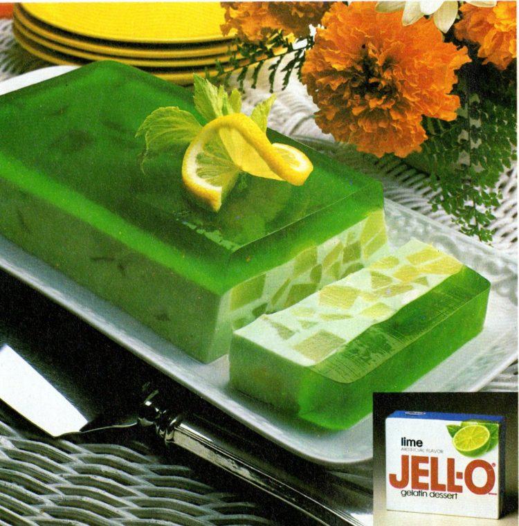 Retro green lime jello salad - Under the sea