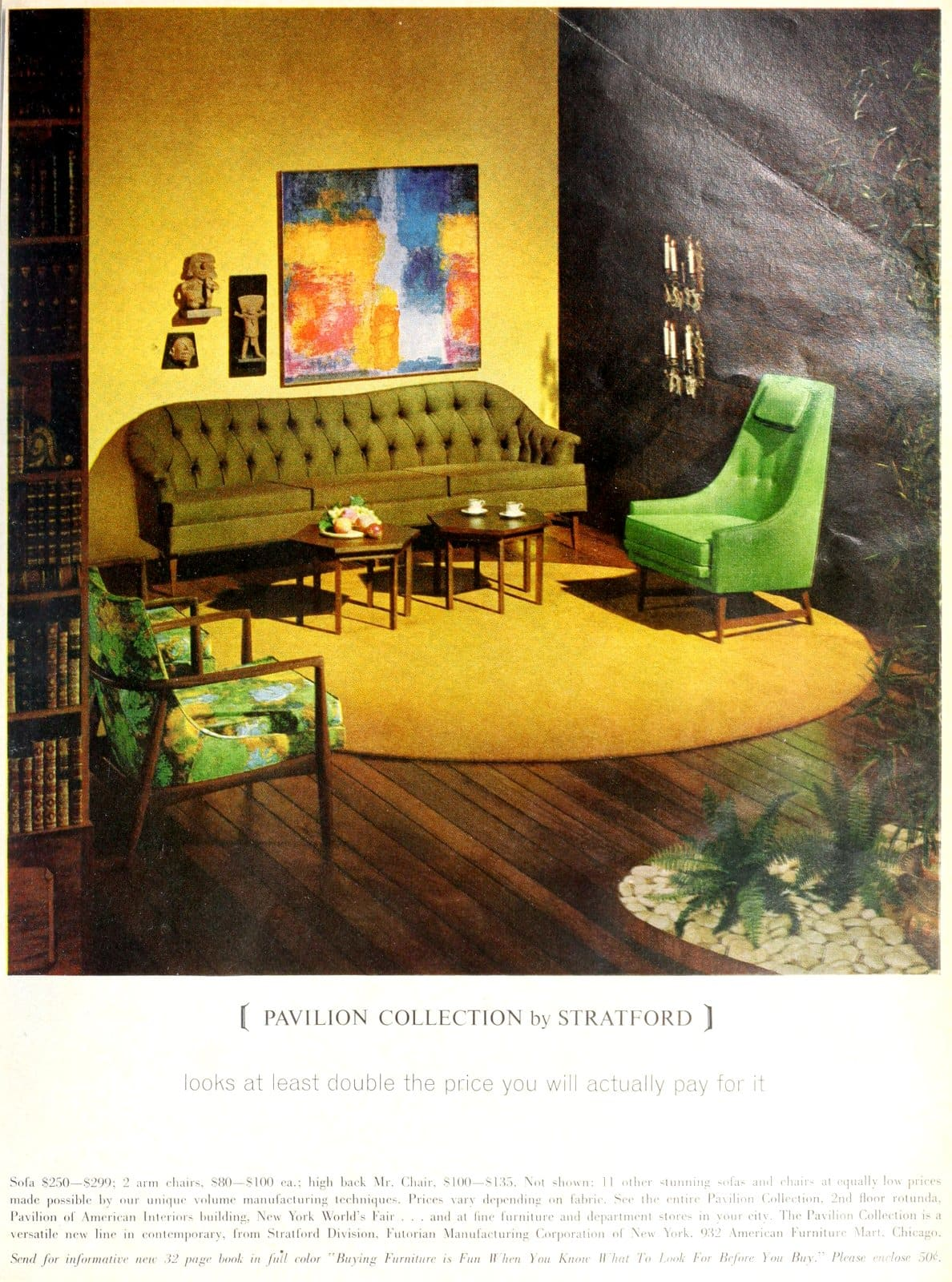 Retro green narrow-backed easy chair and midcentury modern armchair (1962)