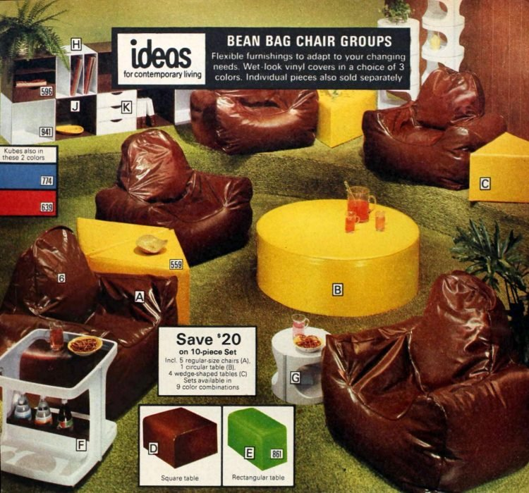 Retro groovy bean bag chair groups and shaped coffee tables from the 70s