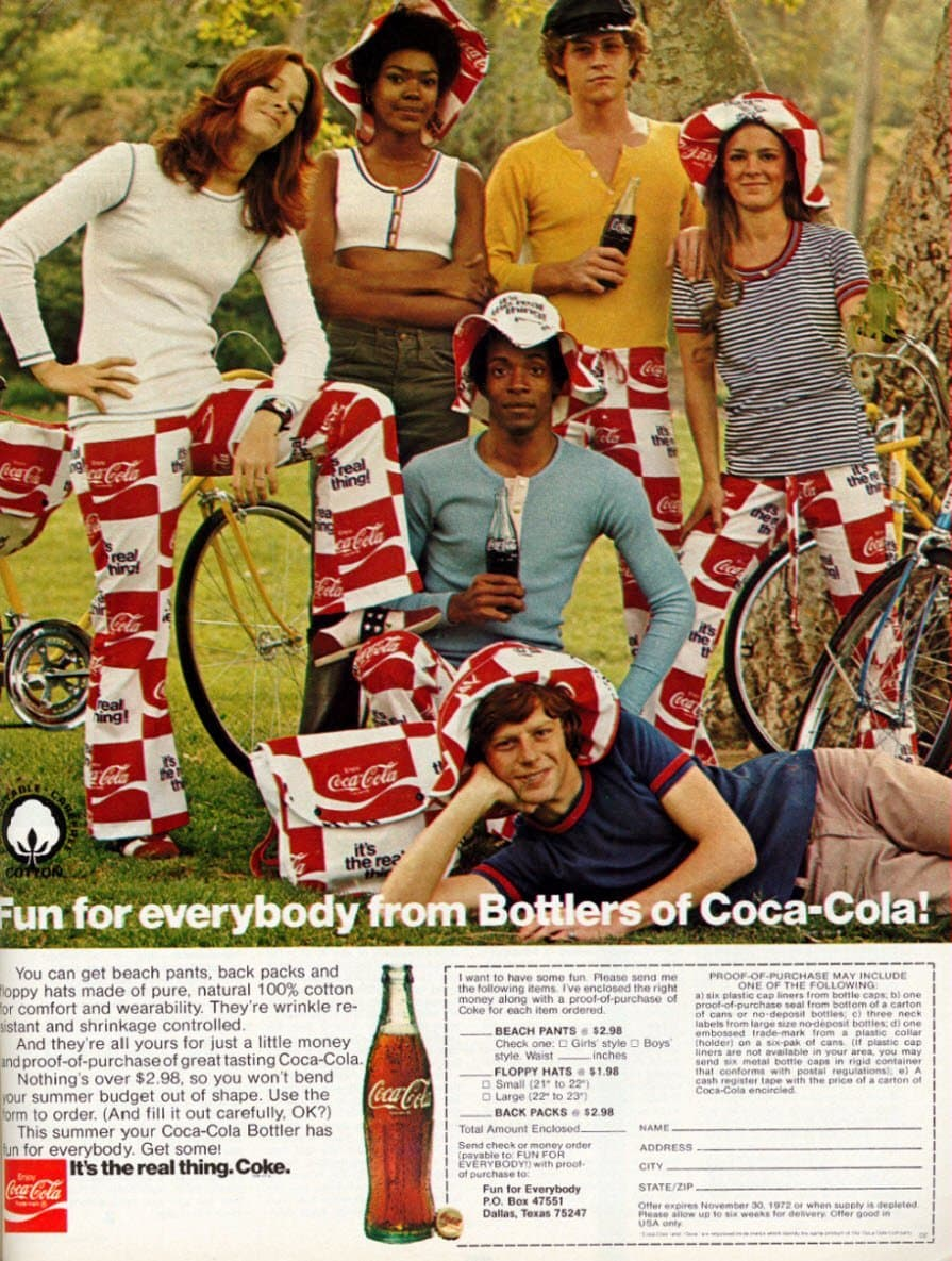 Retro groovy fashion - branded Coca Cola-Coke pants and hats offer (1972)