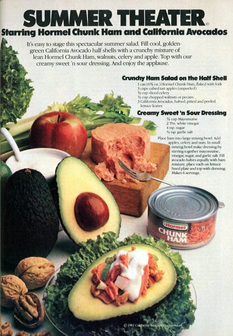 Retro ham-avocado recipes from 1982