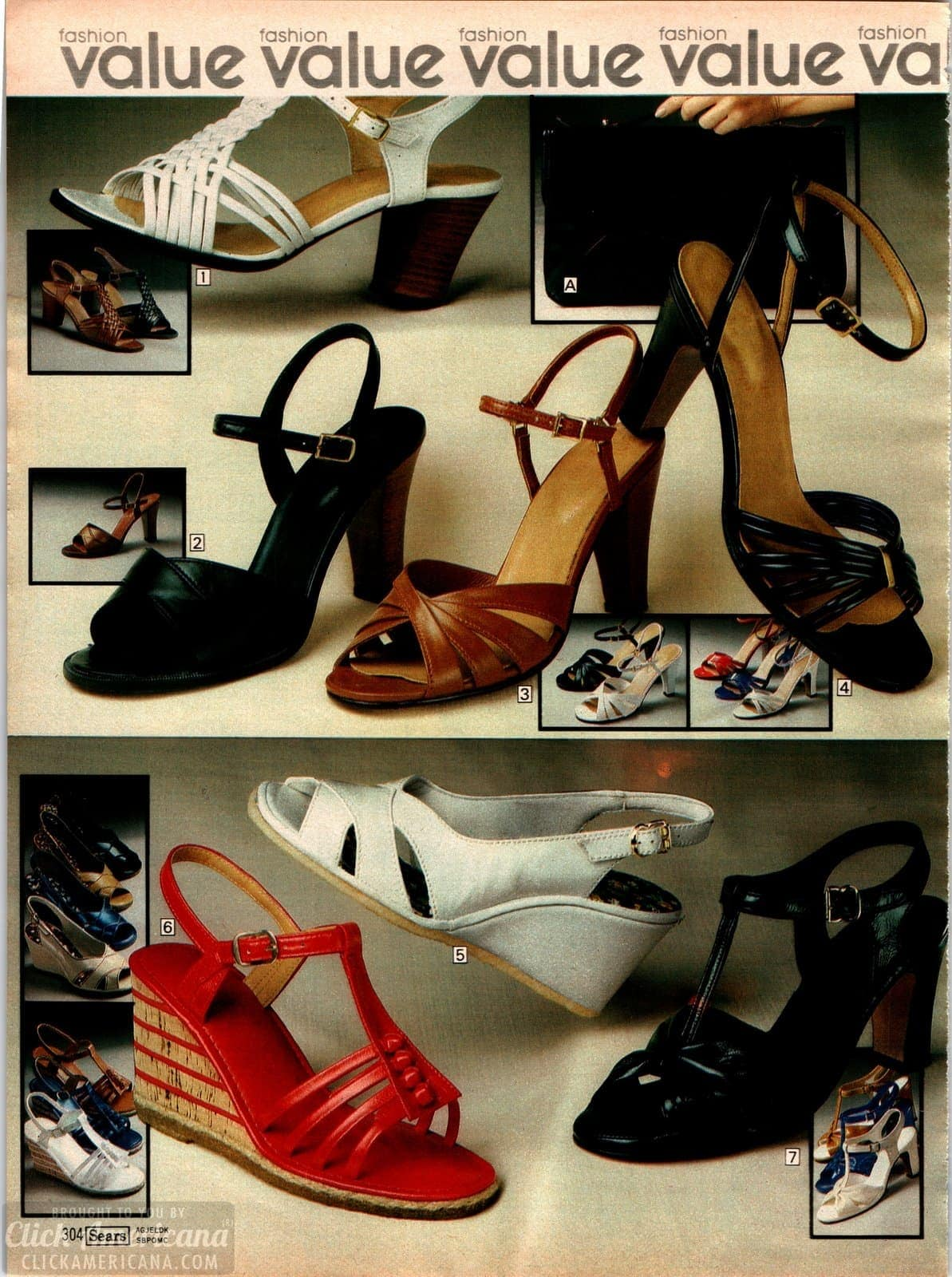Retro high heel shoes with open toes and in 70s platform and pump styles