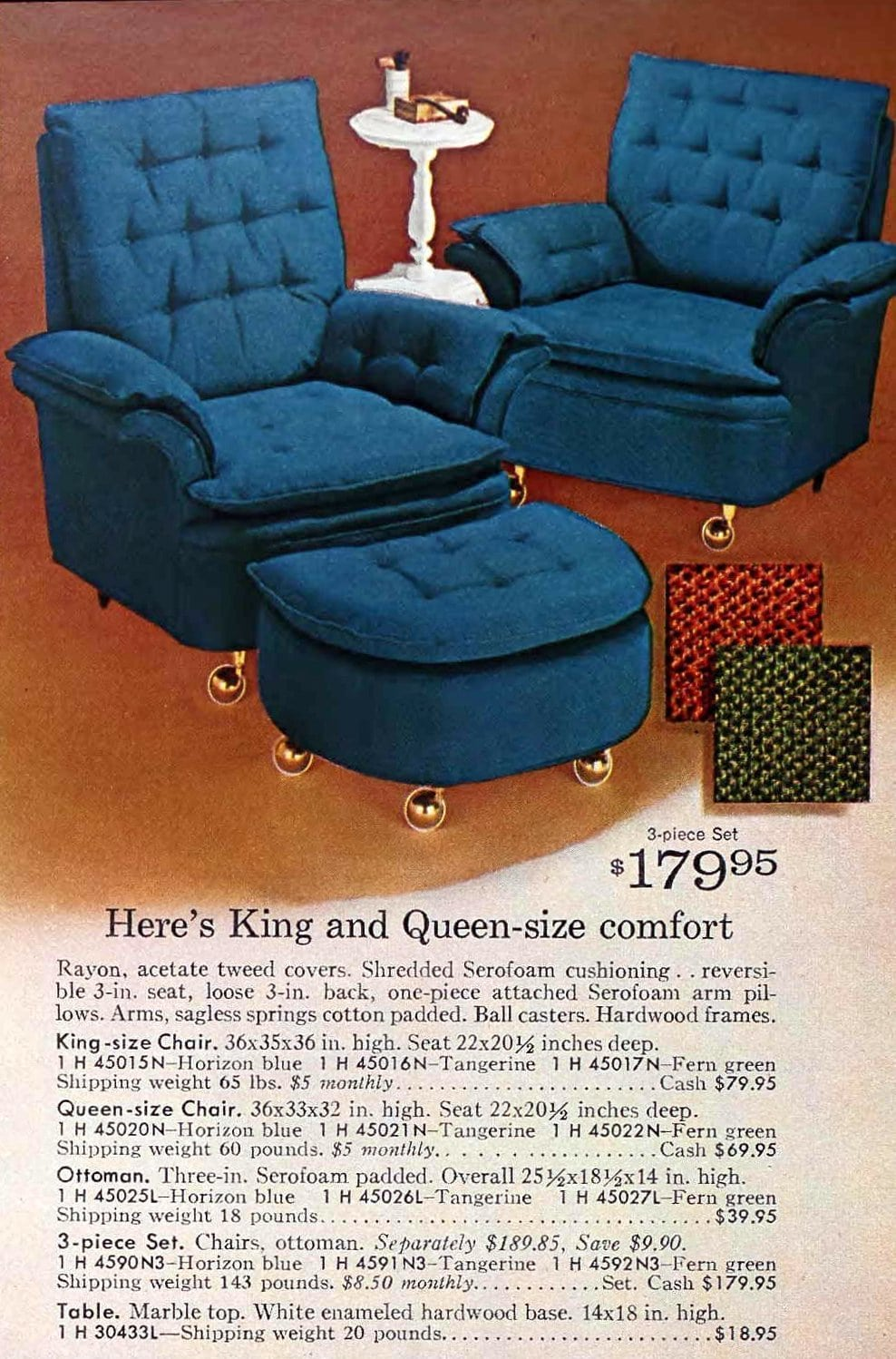 Retro his and hers upholstered living room chairs with wide armrests (1966)