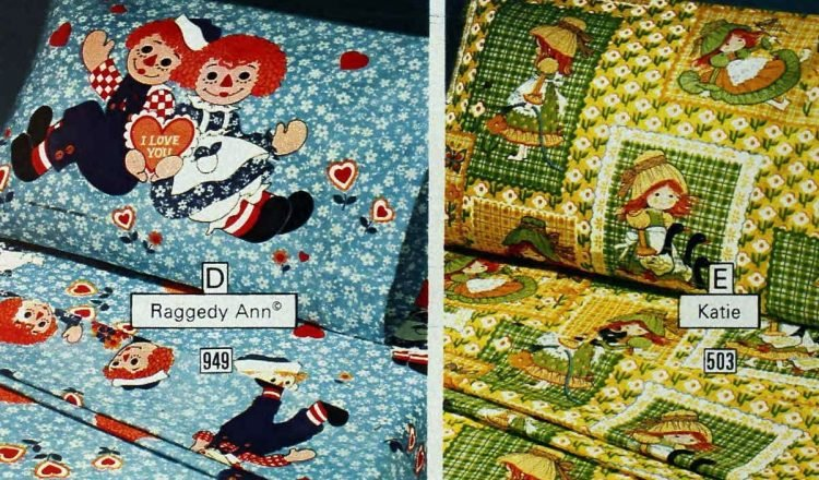 Retro kids' patterned sheets and bedding from the seventies (1)
