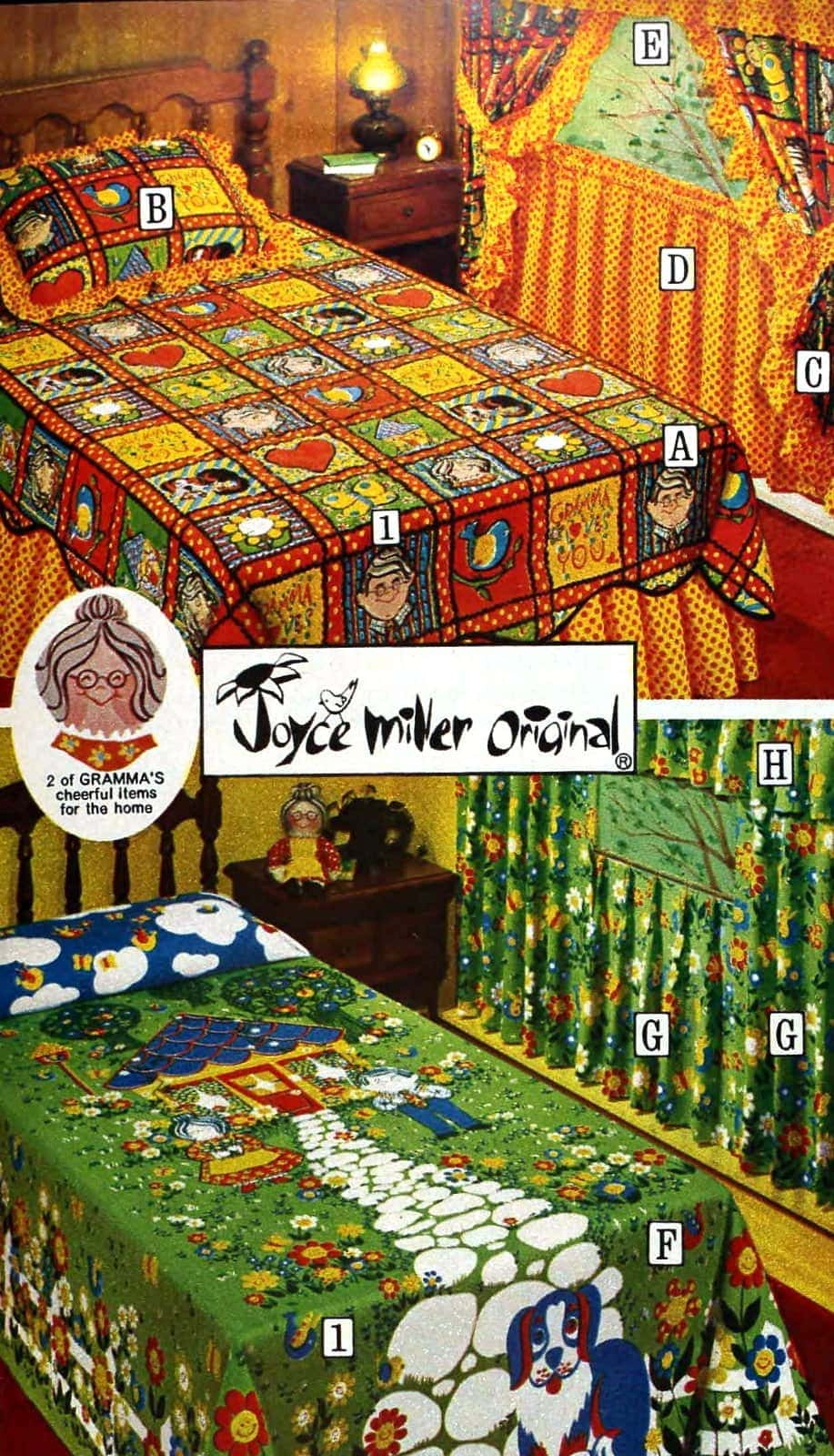 Retro kids' patterned sheets and bedding from the seventies (2)