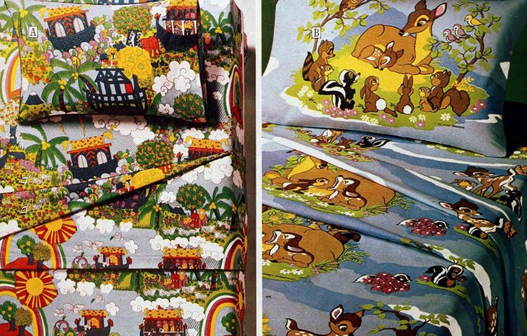 Retro kids' patterned sheets and bedding from the seventies (3)