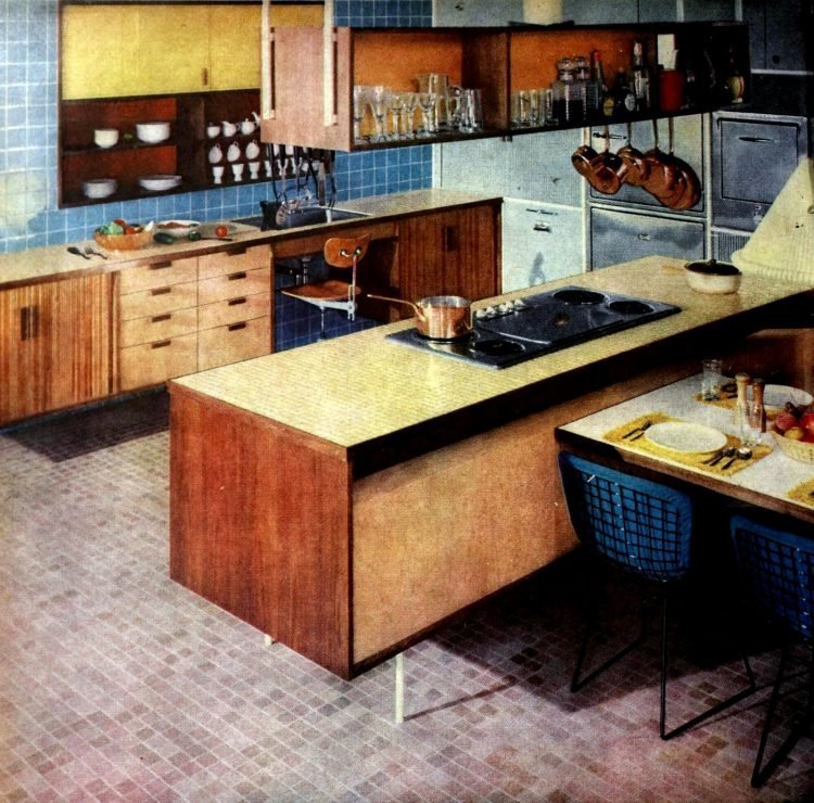 Retro kitchen island design from 1960