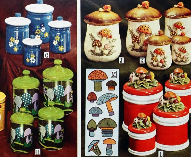Retro kitchen storage canisters from the 70s