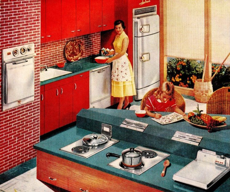 Retro kitchen with angled island and separate stove burners from 1956