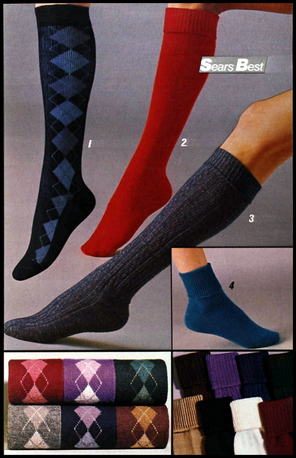 Retro knee sock styles from the late 1980s