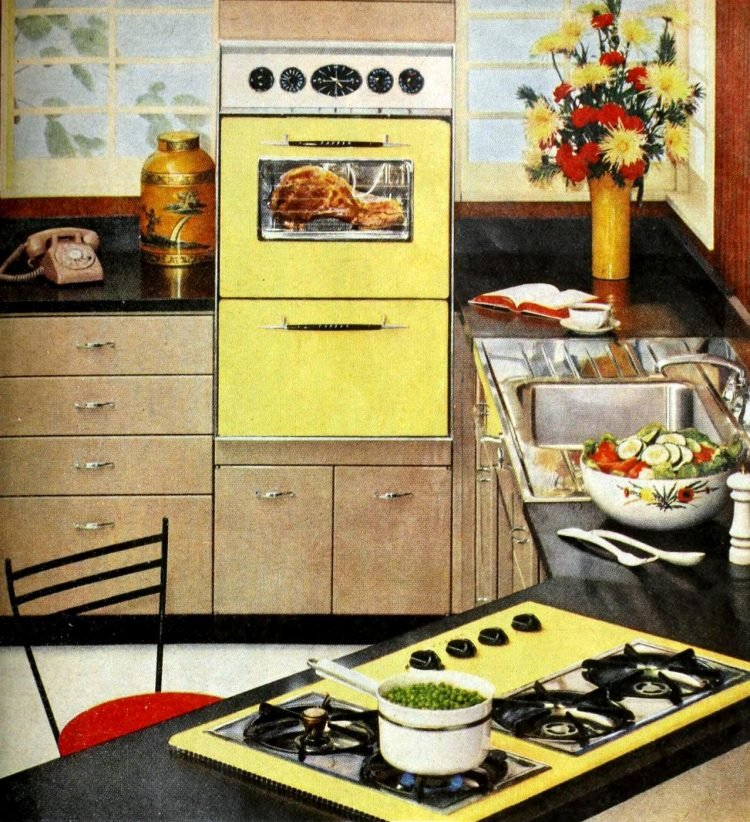 Retro lemon yellow kitchen appliances from the 1950s