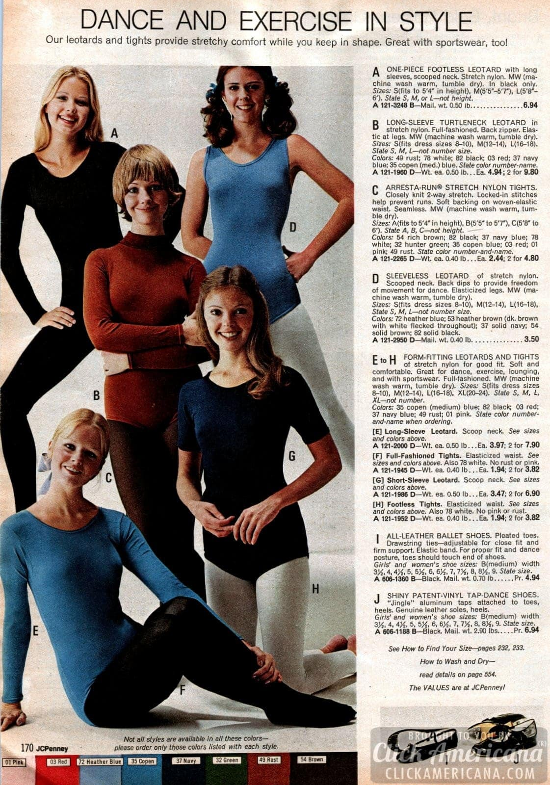 Dance & exercise wear - leotards, tights, ballet shoes, patent tap dance shoes