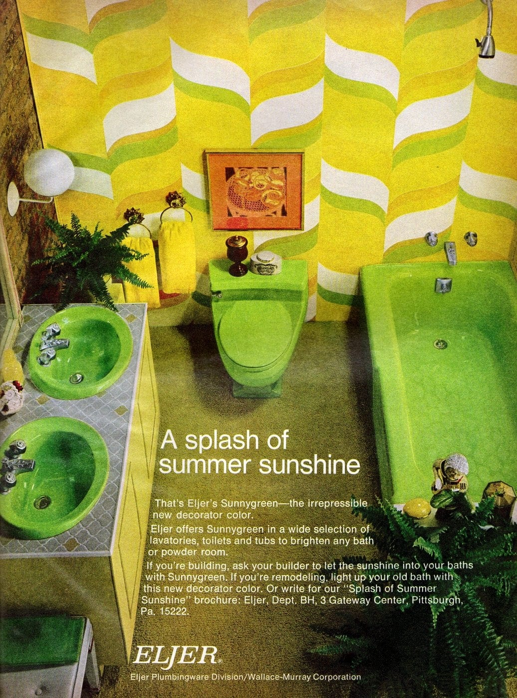 Retro lime green bathroom suite with groovy wallpaper (1970s)