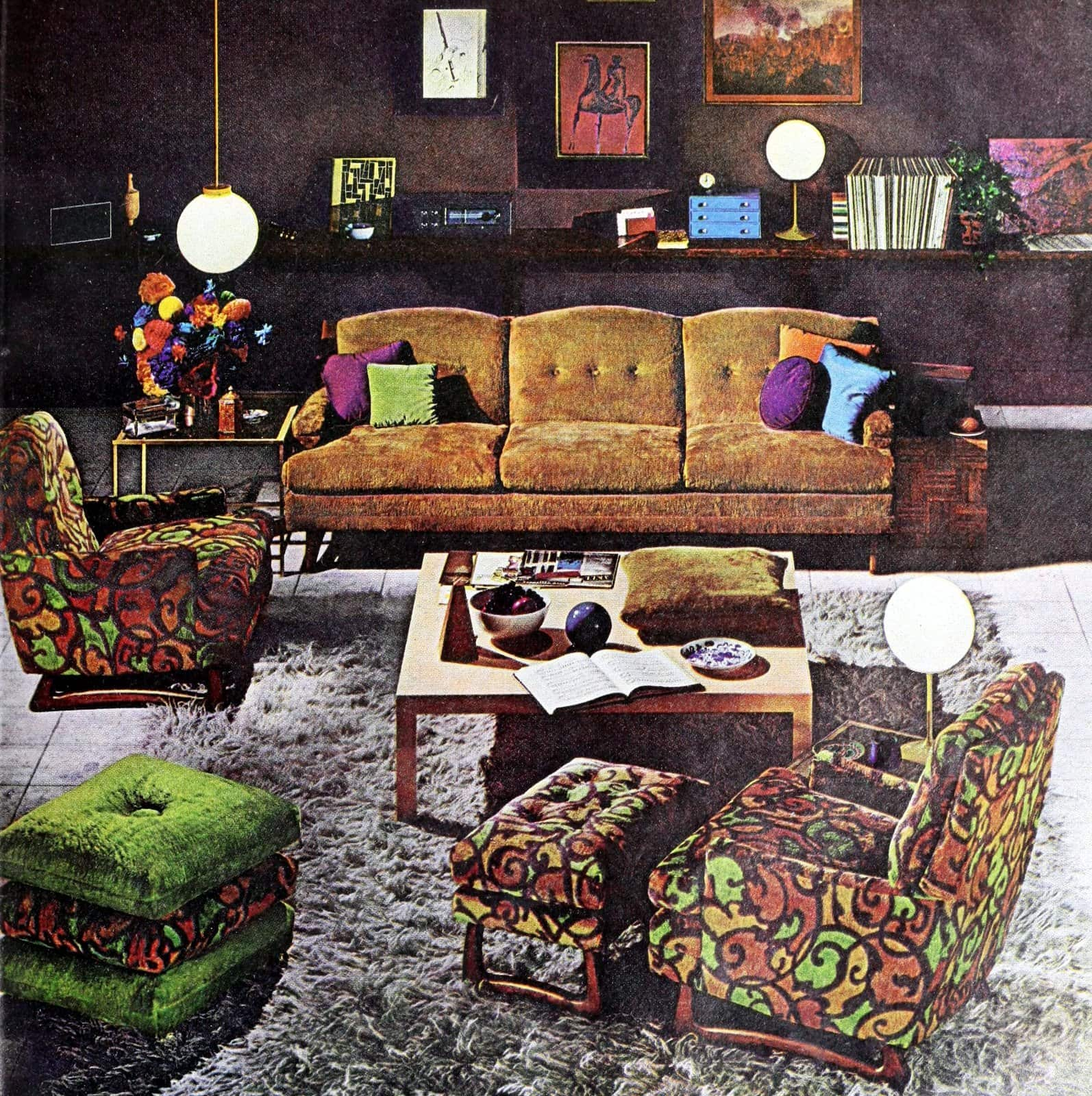 Retro living room furniture styles with quirky patterns (1967)