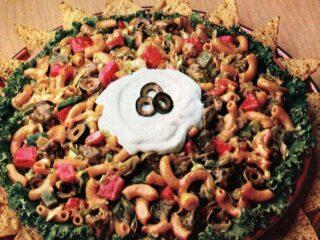 Retro macaroni taco salad recipe from 1987