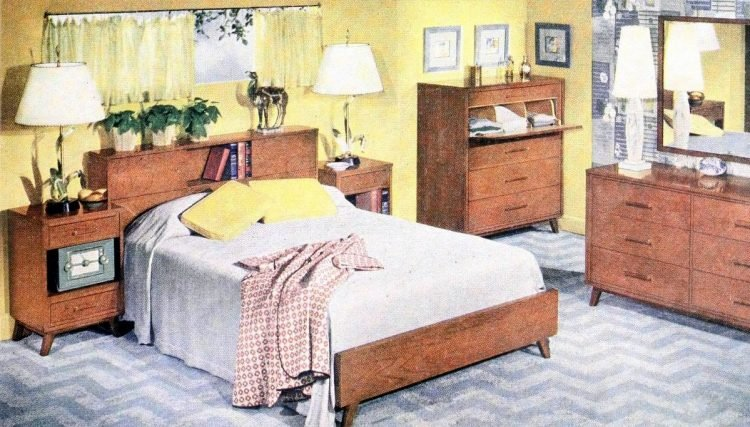 Retro master bedroom from the 50s with wooden furniture