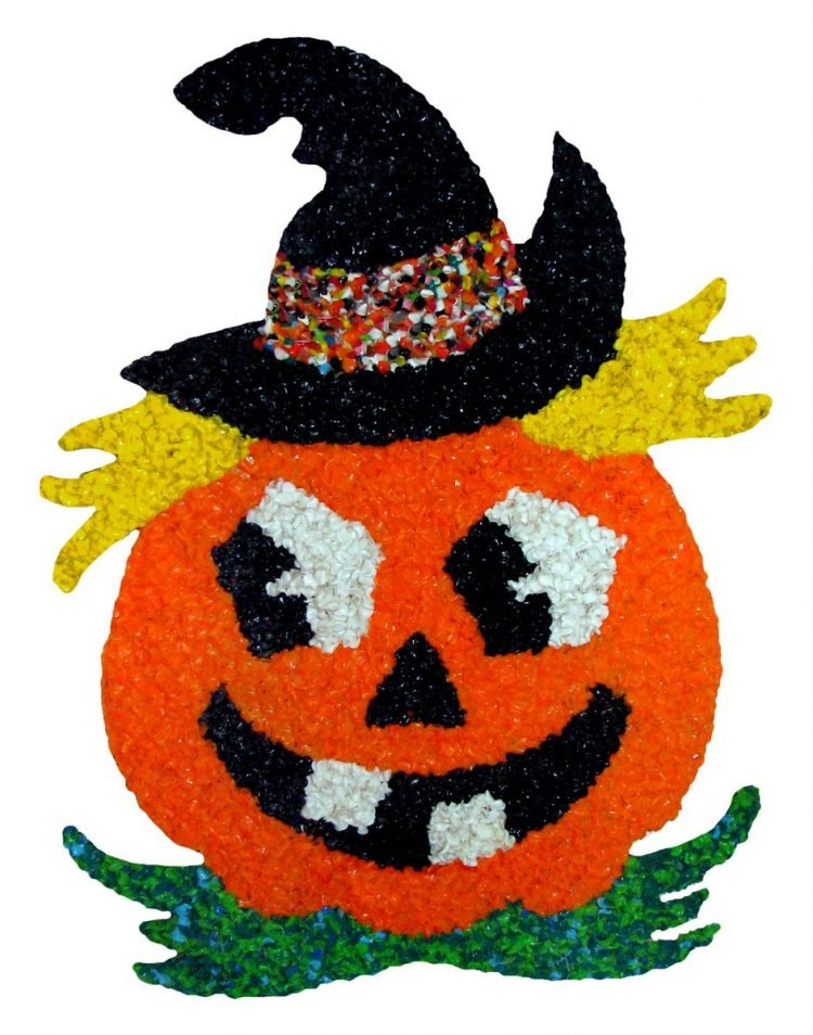 Retro melted plastic popcorn Halloween jack-o-lantern decoration