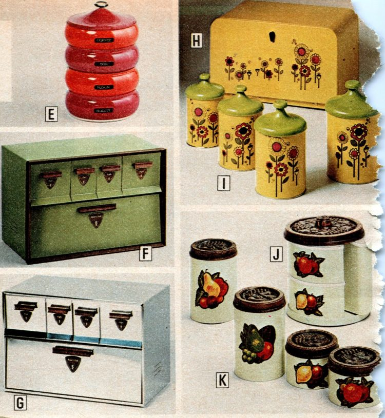 Retro metal kitchen canisters like your mom used to have in the 70s
