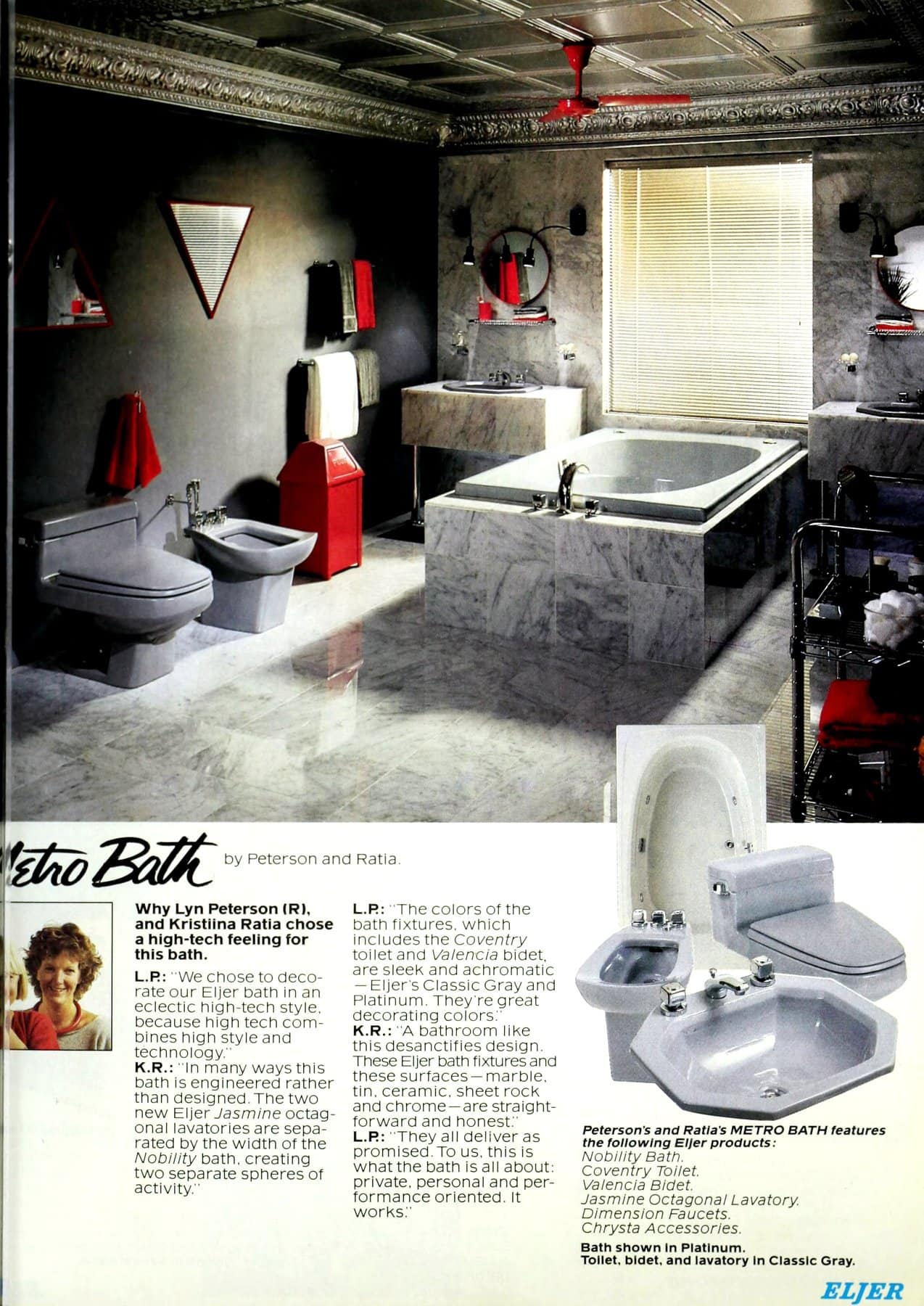 Retro metro marble bathroom design and decor (1986)