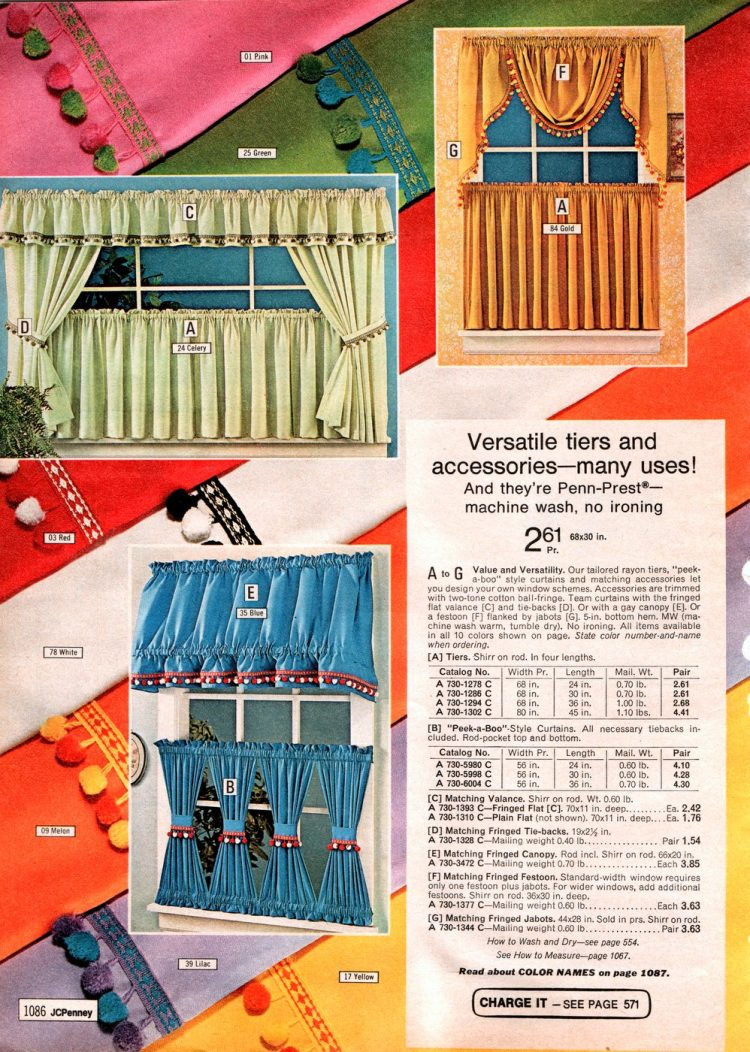 Retro mini drapes and panels - Curtain tiers and shirred tiers