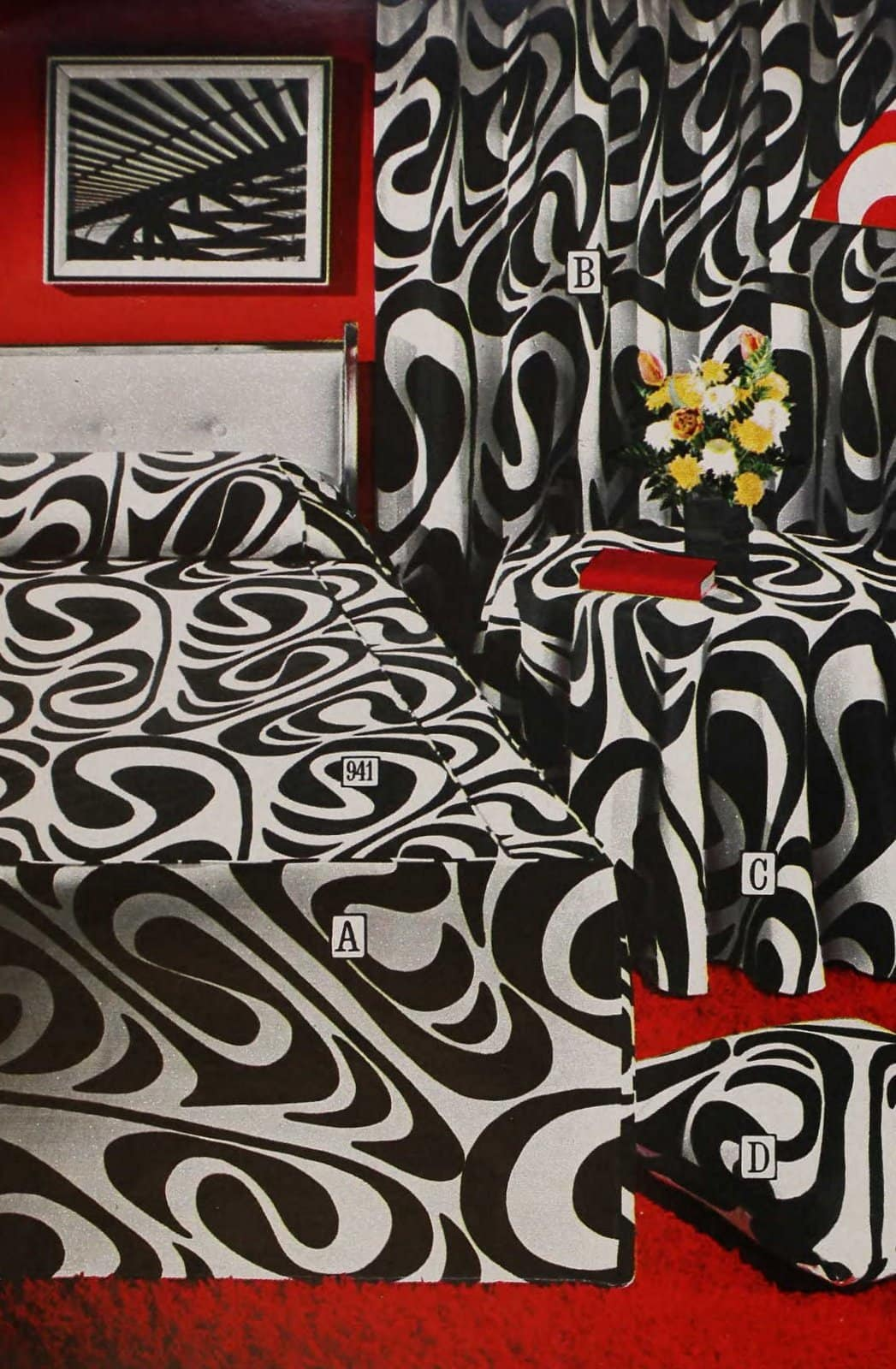 Retro mod psychedelic black and white patterned bedspread