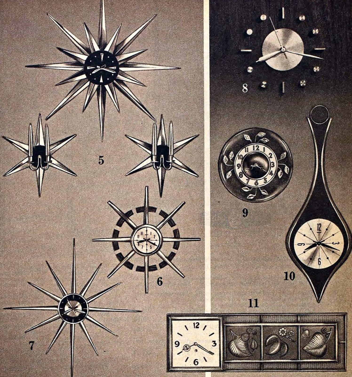 Retro mod star time and modern time wall clocks (1963)