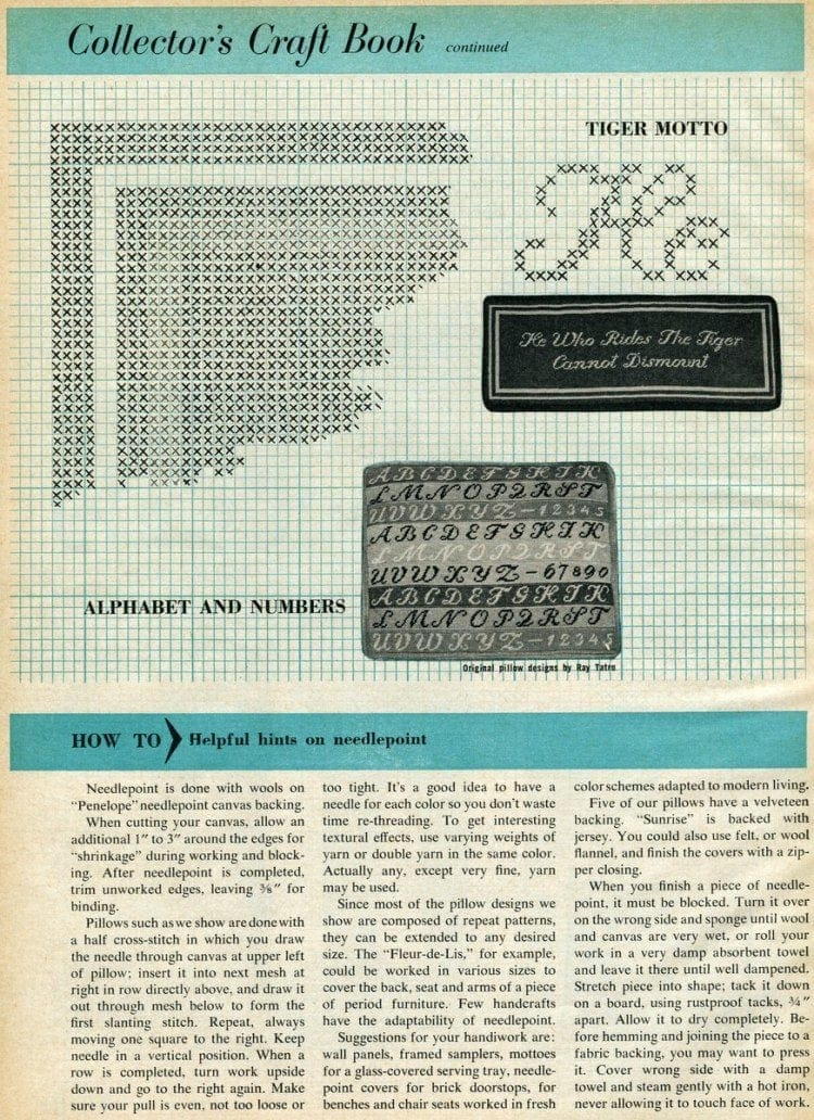 The bright, new look of needlepoint - Vintage inspiration (1958)