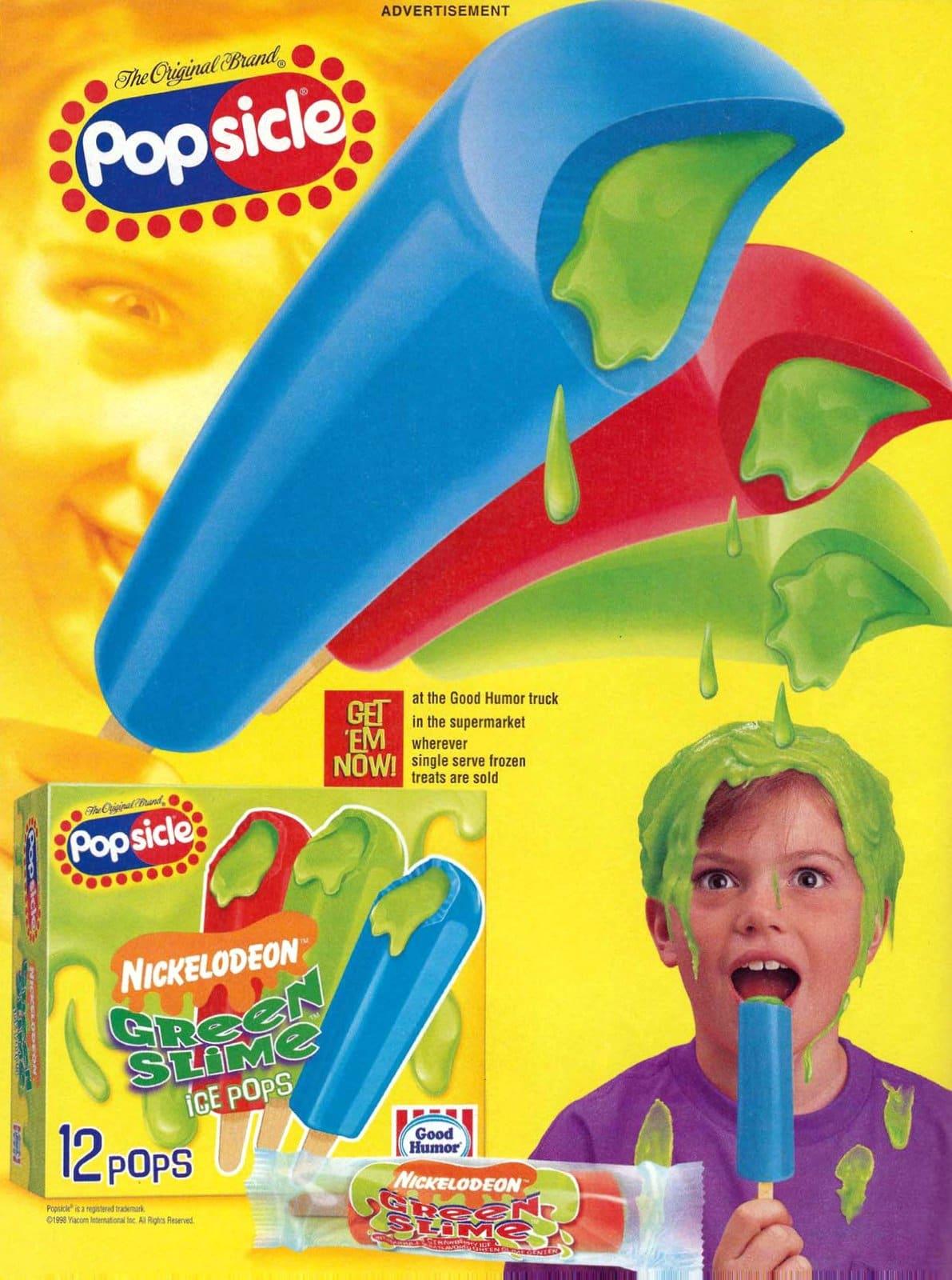 Retro nineties Nickelodeon green slime popsicles (1998)