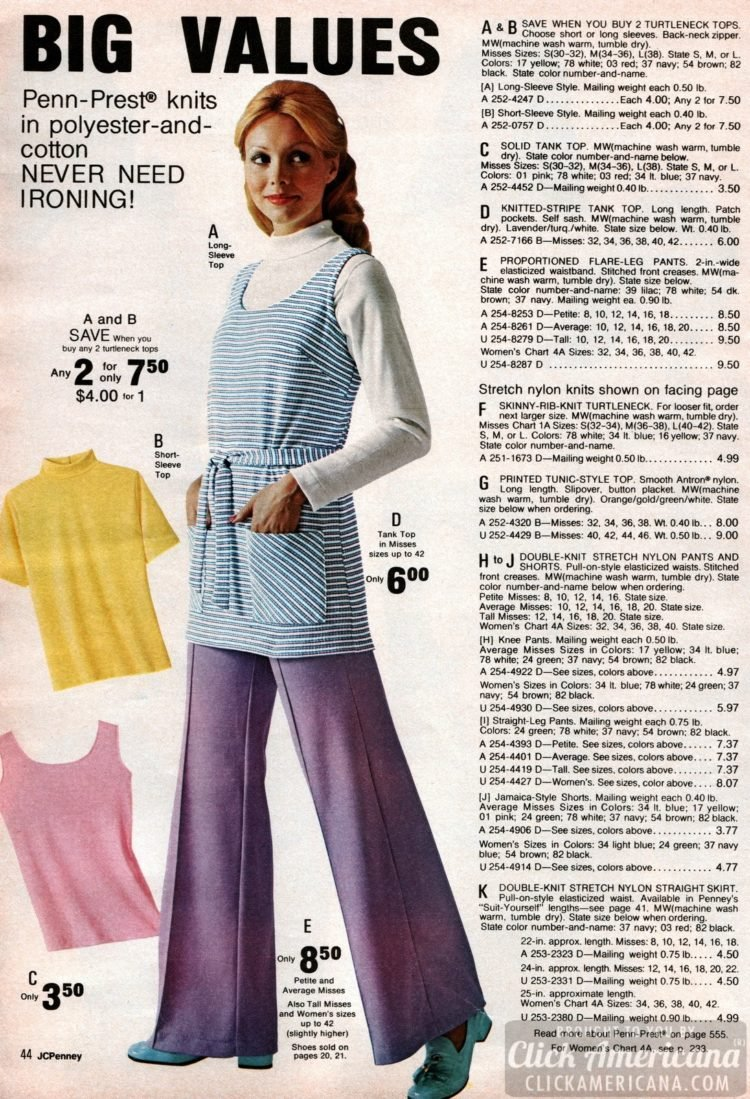 Turtleneck tops worn with striped or solid tank tops - paired with flare-leg pants
