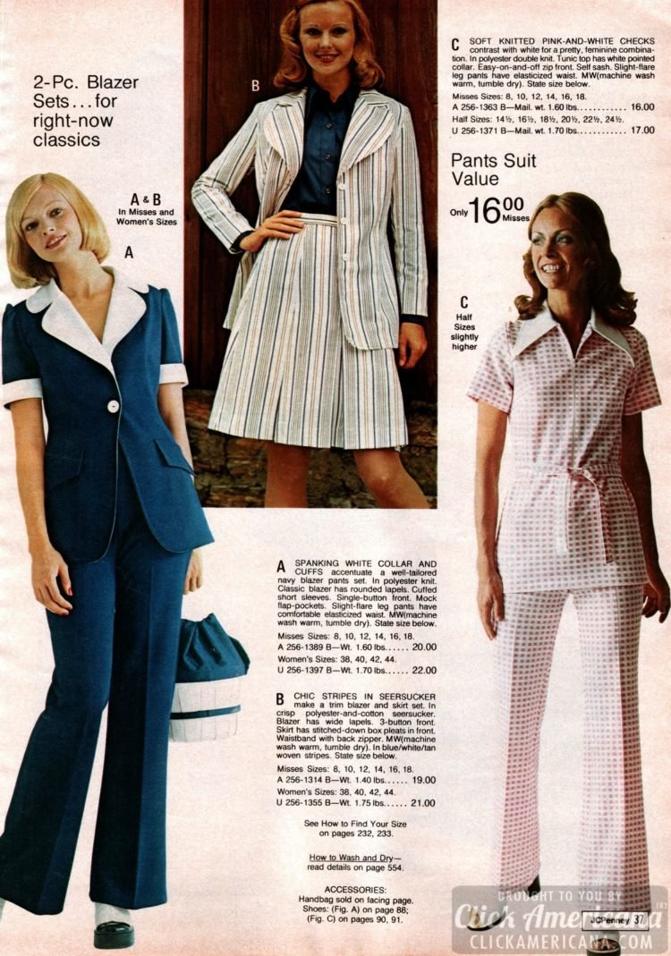Retro pants - 70s fashion for women from the 1973 JC Penney Catalog