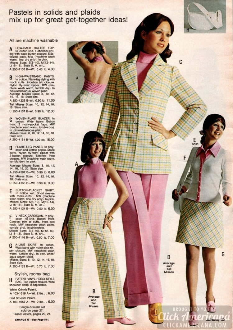 Pastel plaid pantsuit ensembles from the seventies - plus halter tops, flares and cardigans