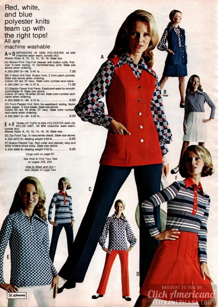 Red, white and blue polyester knits - vests, flared knit pants, zip-front tops