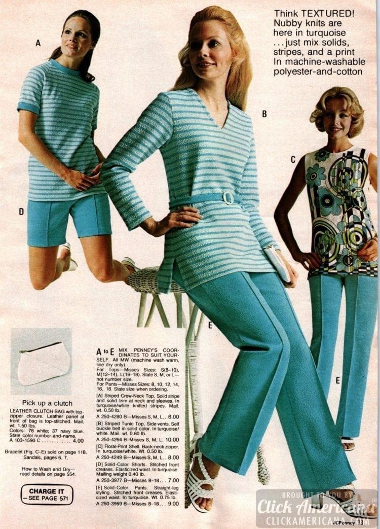 Retro textured nubby knit coordinates - tops, tunics, shells, shorts and pants