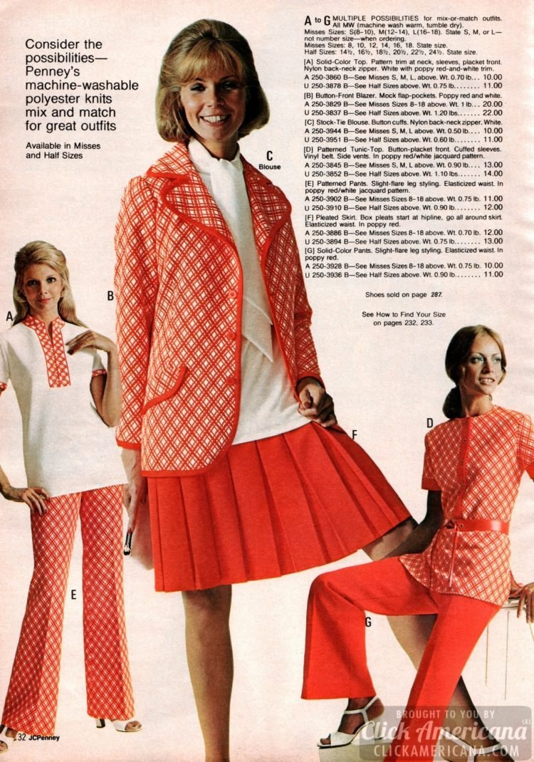 Vintage polyester knits mix and match for outfits - tops, blazers, pants, skirts