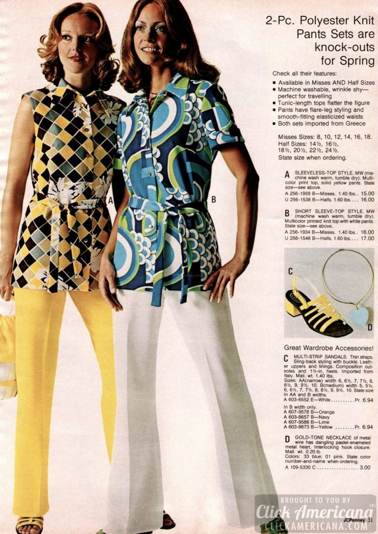 Vintage polyester pantsets with flare-leg styling and elastic waists - plus tunic-length tops