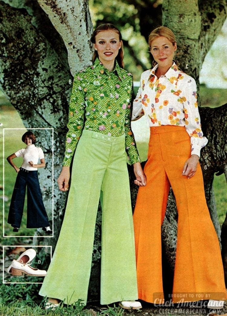 Big bell-bottom pants for ladies with garden-like long-sleeve floral shirts