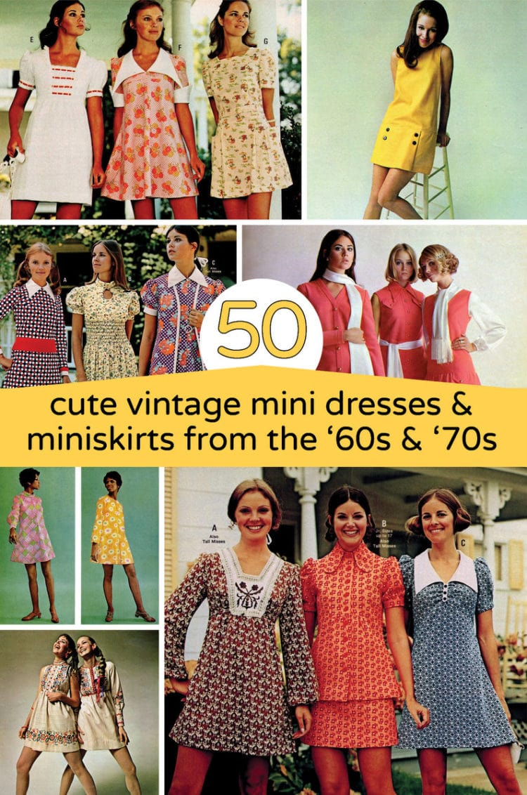 Retro party mini dresses & miniskirts from the '60s and '70s
