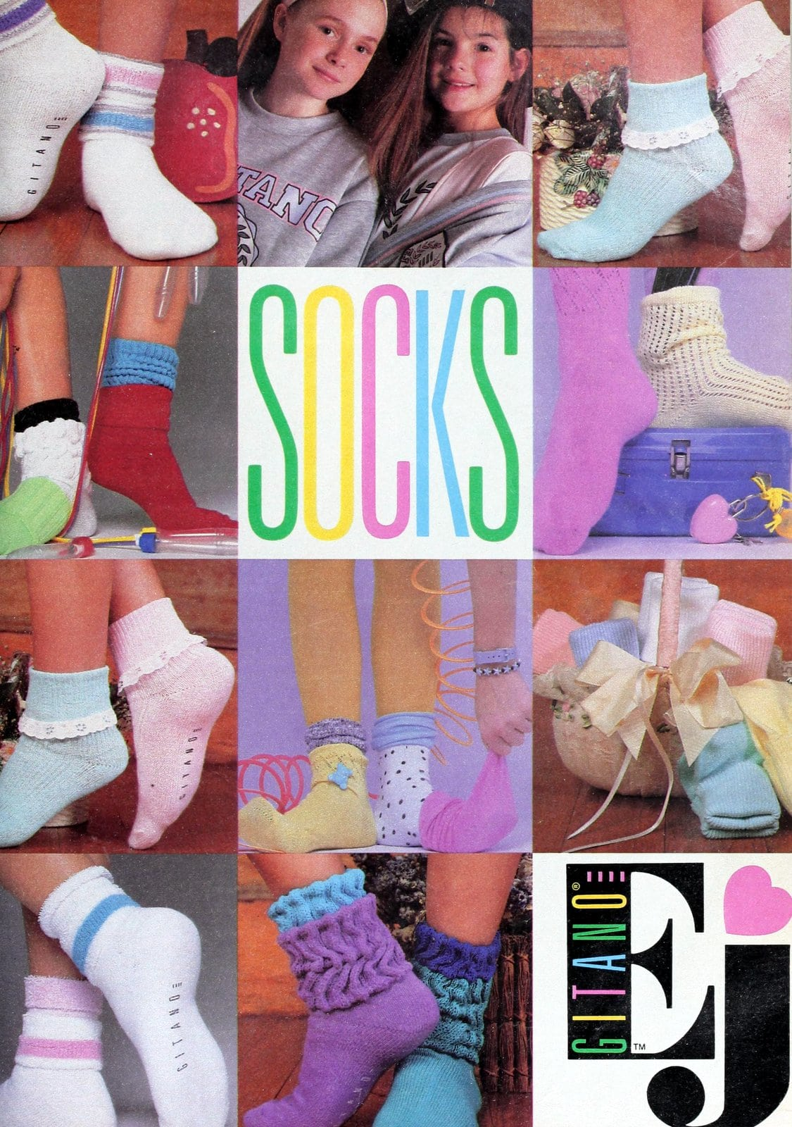 Retro pastel Gitano socks for girls (1989)