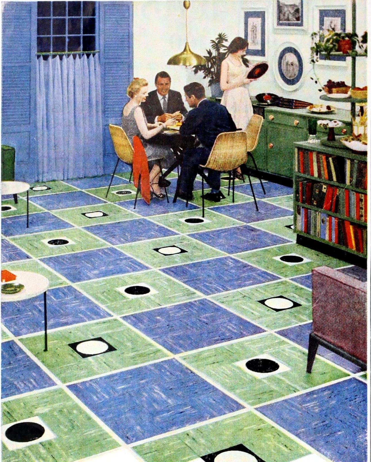 Retro patterned floors in blue and green from 1953