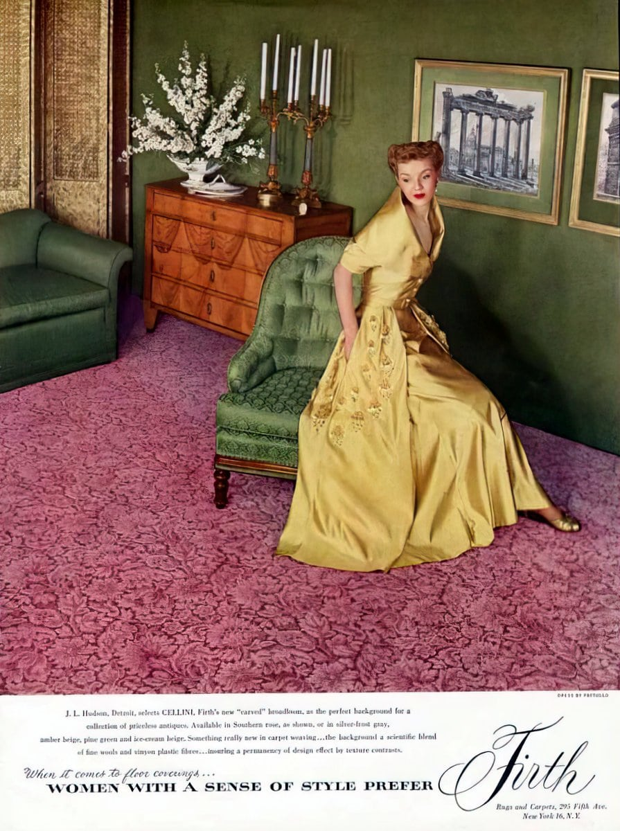 Retro pink carpet from 1949